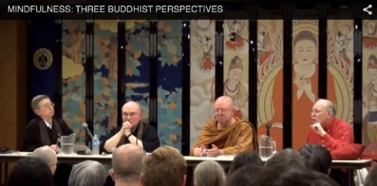 Taigen Dan Leighton, Ajahn Brahm, and Jonathan Landaw discussing mindfulness.